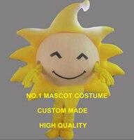 노란색 써니 일 마스코트 의상 성인 크기 만화 황금 태양 테마 학교 수행 의상 카니발 멋진 dress 2626