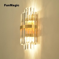 Post modern Luxury Crystal Wall Lamp Living Room Bedroom Bedside Light Vanity Light Aisle Lighting Wall Mounted Sconces Golden