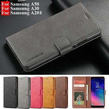 Перейти на Алиэкспресс и купить Кожаный флип-чехол для Samsung A70 A51 A50 A30 A20E чехол для Galaxy A6 A7 A8plus A9 J4 J6 2018 S8 S10Lite S9 S7 Note9 чехол