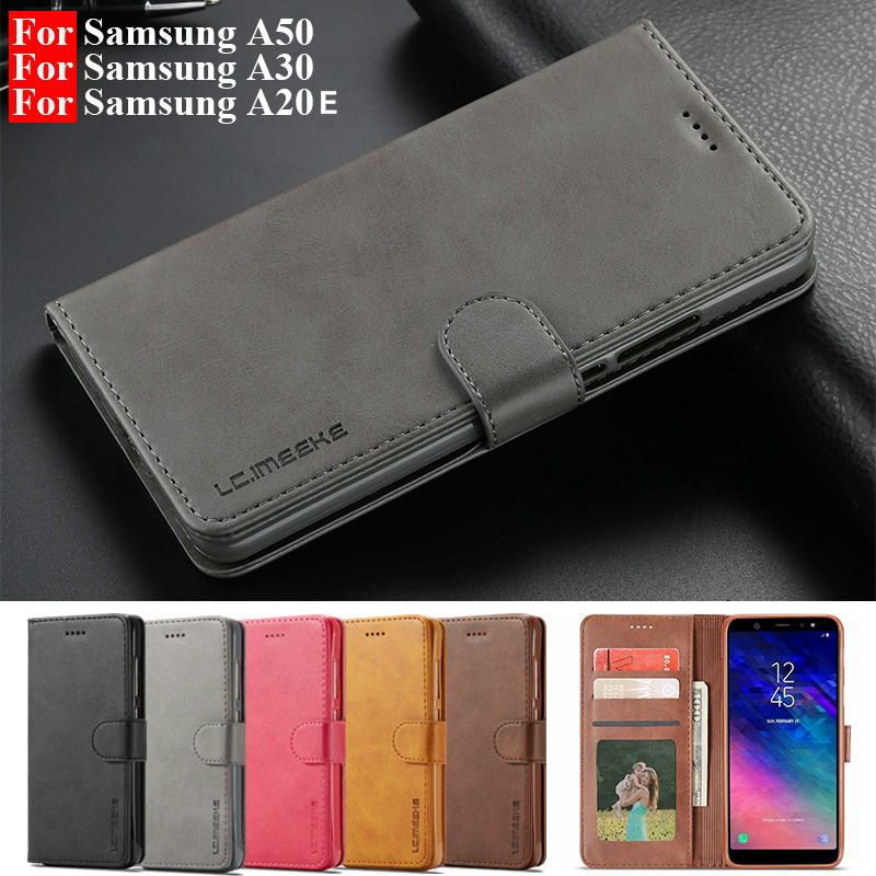 Leather Flip Case For Samsung A70 A51 A50 A30 A20E Case For Galaxy A6 A7 A8plus A9 J4 J6 2018 S8 S10Lite S9 S7 Note9 cover coque(China)