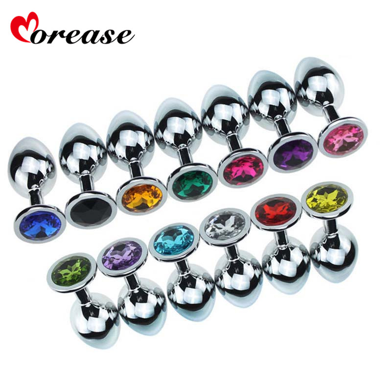 1 pcs Medium Size Metal Anal Plug Crystal Stainless Steel Anal Sex Toys Booty Beads Jewelled Butt Plug Products for Men Women toyz4lovers jammy jelly anal medium plug
