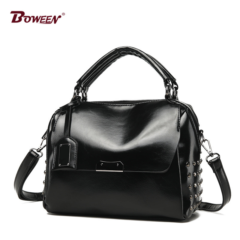 2018 new pu leather handbag women bag European American style fashion solid Ladies Shoulder Bags Vintage hand bag Female Rivet стоимость