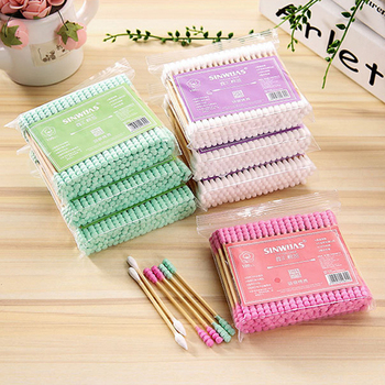 100 Pcs Double Head Cotton Swab Bamboo Makeup Cotton Buds Tip For Medical Wood Sticks Nose Ears Cleaning Health Care Tools 1