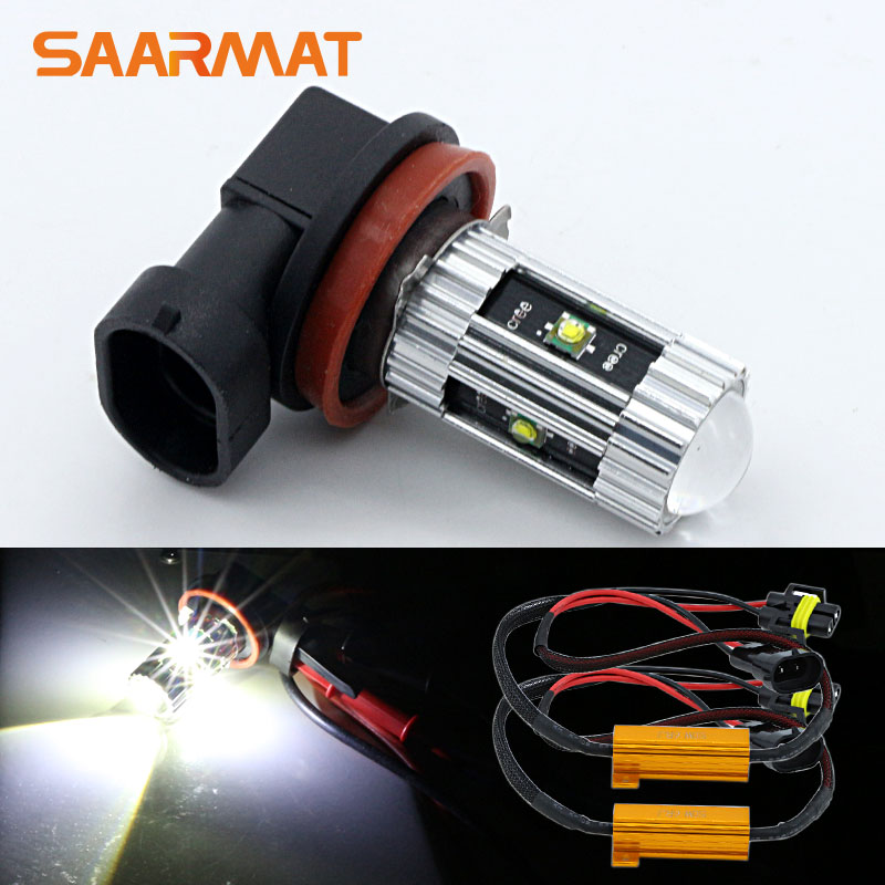 2x H11 H8 H9 H16(JP) w/ CREE Chips <font><b>LED</b></font> Fog Light DRL Bulb+ Canbus Decoders For Audi A3 <font><b>A4</b></font> A5 S5 A6 Q5 Q7 TT B6 <font><b>B8</b></font> B7 A6 C5 80