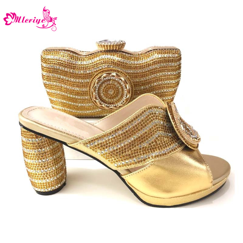 New Arrival Party Shoes and Bag Sets for Women Nigerian Shoes and Matching Bags Set Decorated with Rhinestone High Heels Pumps new arrival nigerian women shoe and bag set decorated with rhinestone shoe and matching bag for nigeria party womens shoes heels