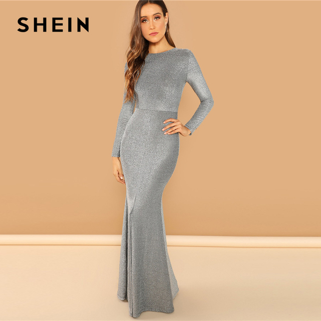 978000165c3c SHEIN Silver Solid Split Mermaid Hem Maxi Dress Plain Long Sleeve Stretchy  Party Dresses Women Autumn Sheath Going Out Dress