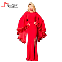 Liyatt 2018 Red Formal Evening Dresses Sexy Mermaid O Neck Puffy Long Sleeve with 3D Flower Floor Length Women Party Gown