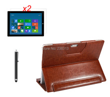 "Black&Brown Folio Stand Pouch Case with Keyboard Cover +2*Clear Screen Films +Stylus For Microsoft Surface Pro 3 Pro3 12"" Tablet"