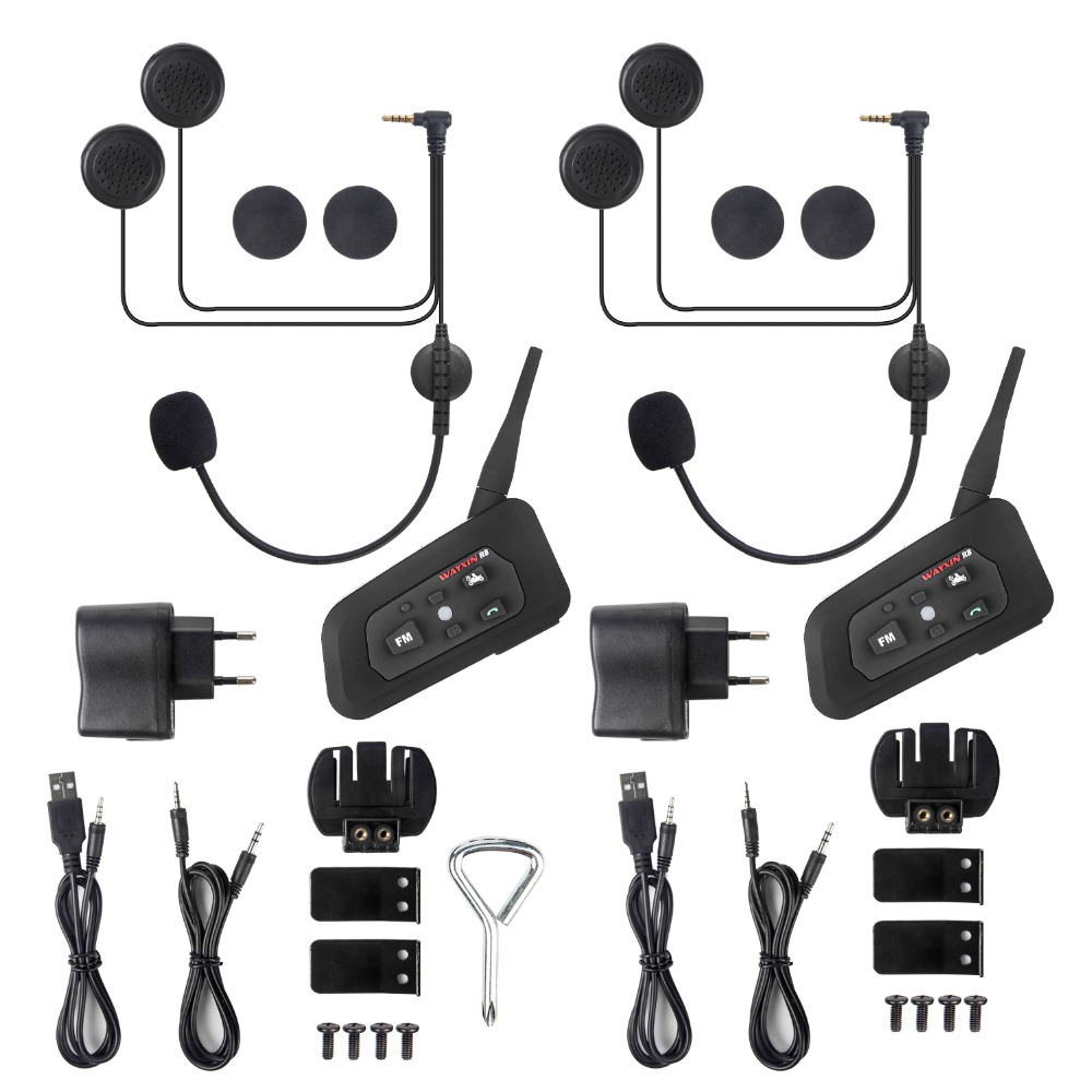 2PCS intercomunicador Interphone MP3/FM/GPS 1200M Bluetooth intercom Motorcycle Helmet Headsets Intercom 6 riders BT Wireless