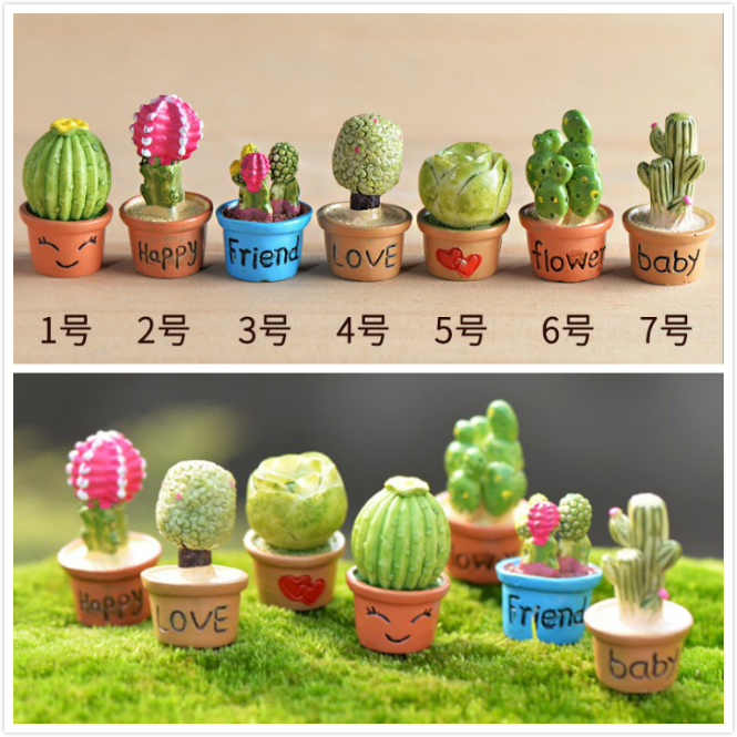 7pcs 1:12 MINI Dollhouse Miniature DIY Cabin Mini Model Simulation Resin Cactus Plant Free Shipping