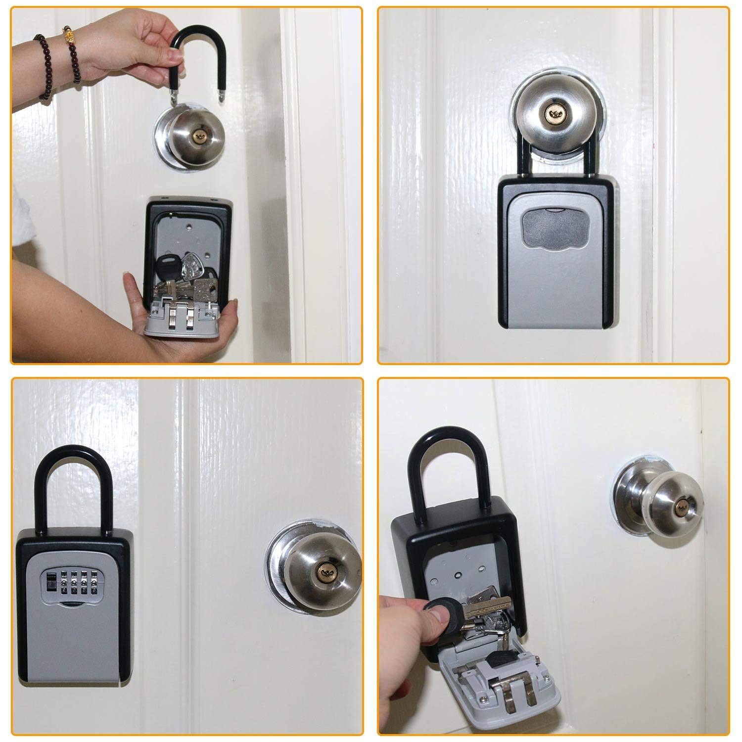 Key Lock Box Wall Mount Key Lock Boxes Aluminum Alloy 4-Digit Combination Key Storage Lock Box Weatherproof for Outdoor Indoor realtor wall mount key lock box with 10 digit push button combination is weather resistant for indoors or outdoors