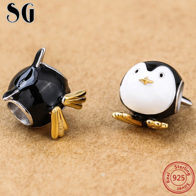 b249670f7 Silver Galaxy 925 Sterling Silver Cute Penguin Beads For Women Fit Original  European Charms Bracelet Authentic Fashion Jewelry