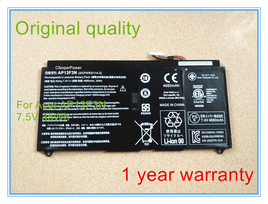 New Original AP13F3N 7.5V 4680mAh 35Wh Laptop Battery for S7-392 Ultrabook Notebook 4 Cell Black new notebook laptop keyboard for asus gfx70js gfx70jz french fr layout