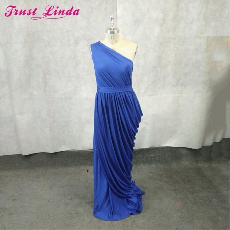 New Arabic One Shoulder Royal Blue Sheath   Bridesmaid     Dresses   Long Formal Party   Dress   Pleats Prom Gowns