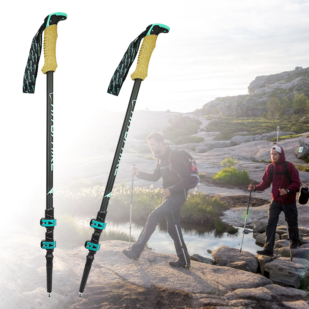 Hitorhike 195g pc Carbon Fiber Lightweight Trekking Pole Adjustable Telescopic Hiking Walking Stick 3 Section For