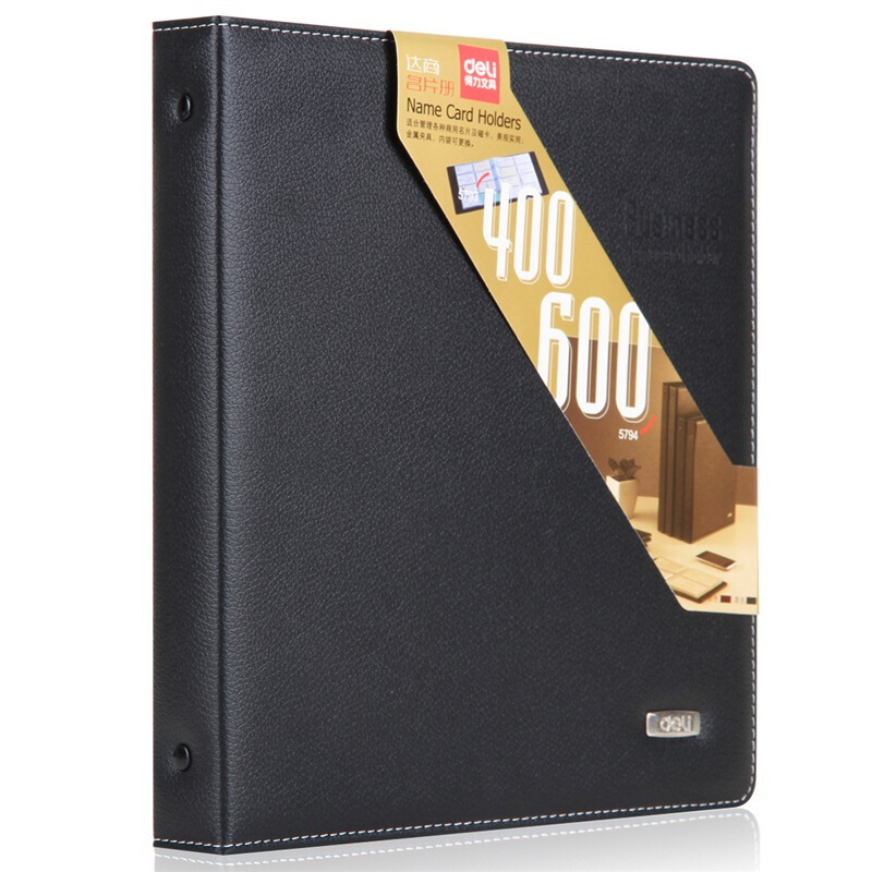 Deli Super Large Capacity Business Card Book Holder Stock Journal Card Organizer 400 Cards Black Office Supplies Stationery 5793