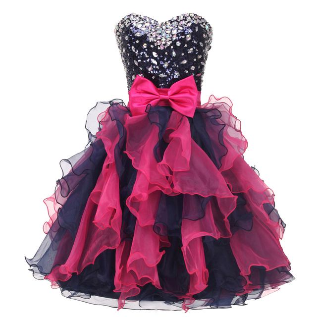 Color Mixed Knee-Length Ball Gown Homecoming Dresses Sexy Ajax 2017 Sparkly  Beaded Short Cute 8th Grade Graduation Gowns Custom 676923d9e878
