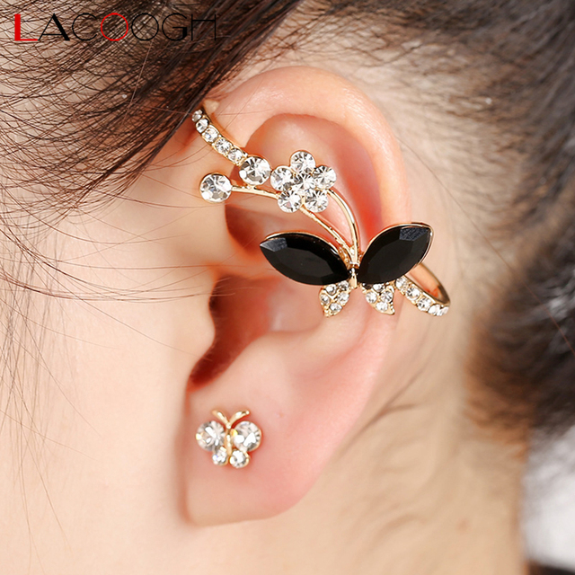 Lacoogh 2017 New Trendy Clip On Earrings For Women Alloy Rhinestone Gold Color Ear Cuff