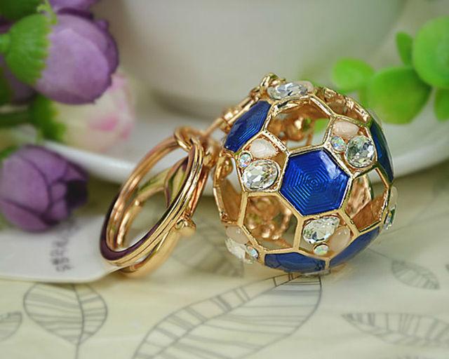 Hollow Football Opal Keyring Rings Fashion Jewelry Women Bag Crystal Rhinestone Charm Pendant Bag KeyChain Father's DayGift