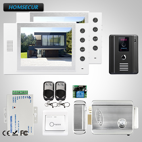 HOMSECUR 8 Video&Audio Home Intercom Electric Lock+Keys Included for Apartment TC011-B + TM801-W
