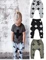 2016 boy harem pants kikikids nununu bebê meninas calças de verão preto 100% algodão crianças roupas cruz pantalones ropa nino nina