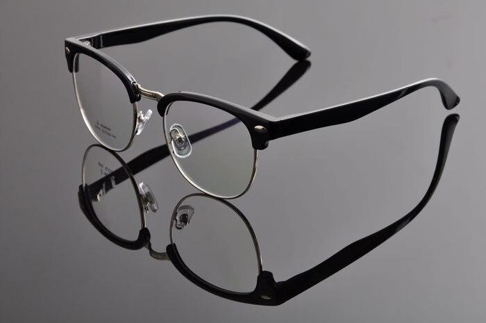 DEDING Винтаж очки с круглыми линзами в стиле унисекс очки ботаника очки в оправе вогнуто-Выпуклое стекло, de vue oculos de grau с чехлом ткань DD0883 - Цвет оправы: Shiny black silver