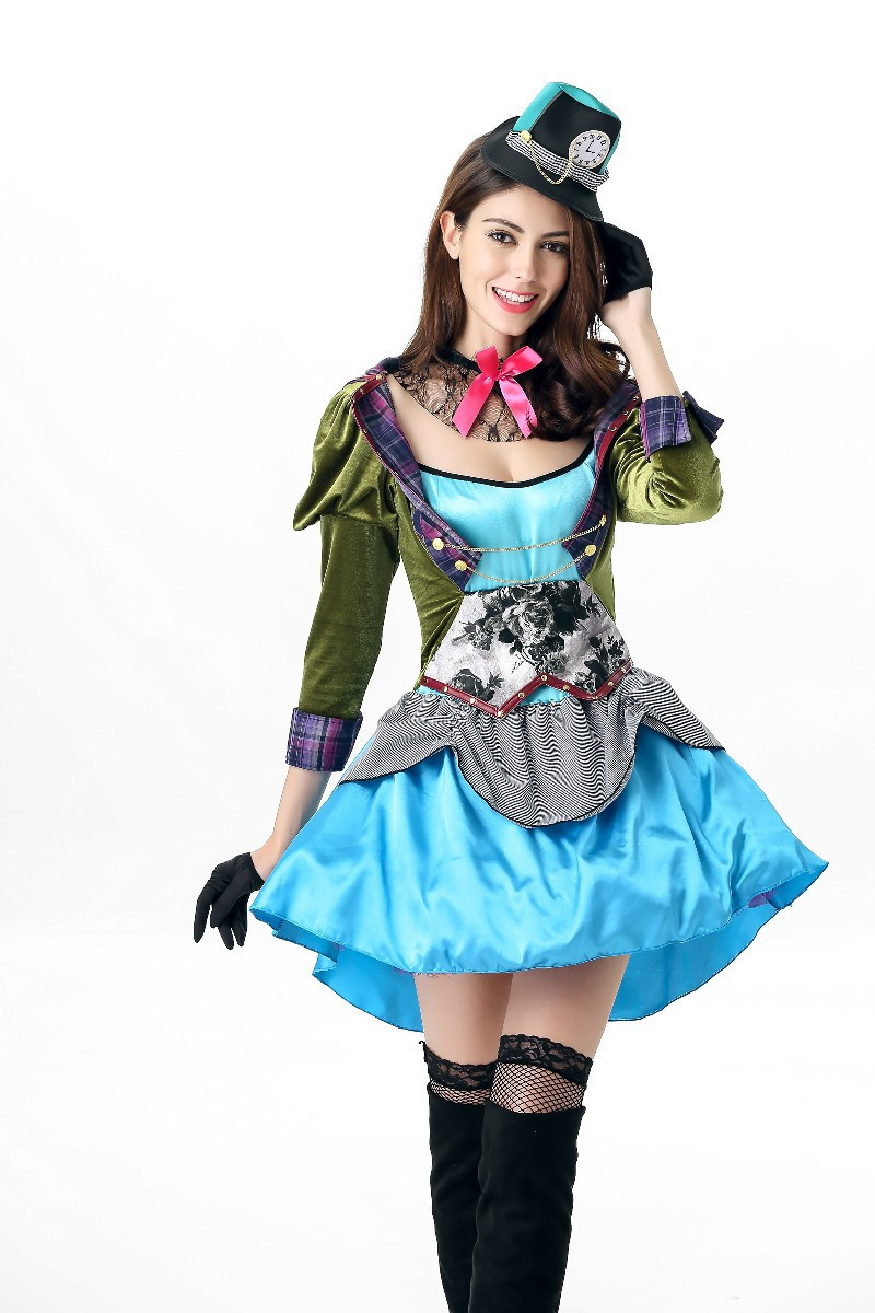 free shipping Ladies Mad Hatter Fancy Dress Up Tea Party Alice In ...