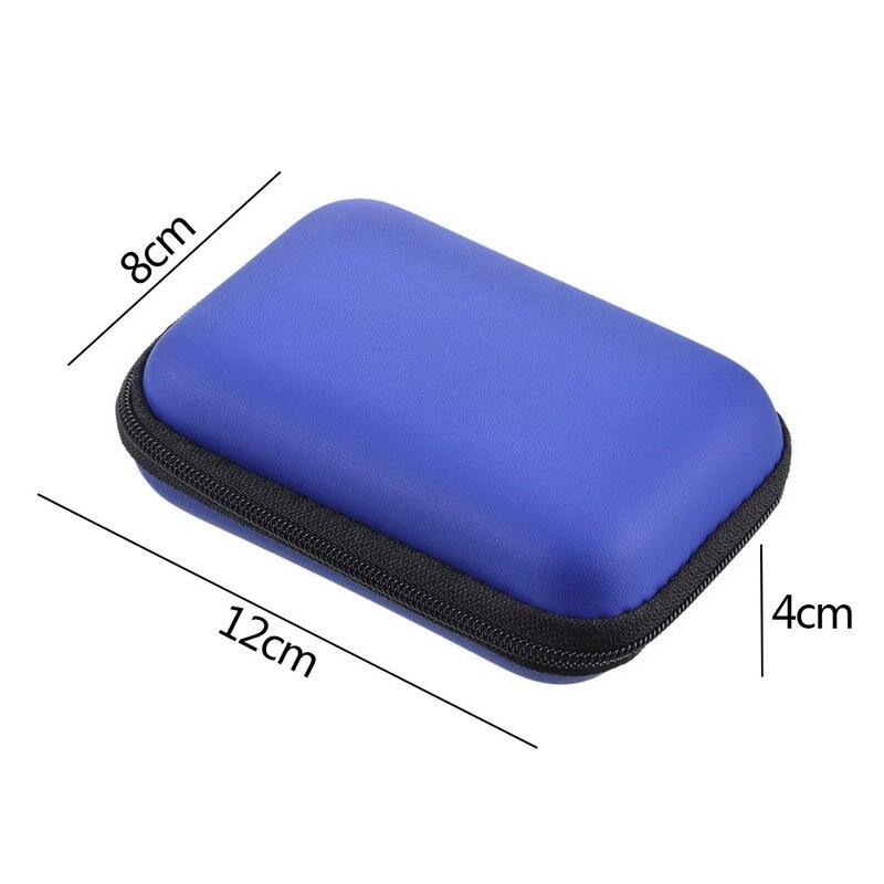 Чехол-контейнер для монет, наушников, защитная коробка для хранения, цветные наушники чехол для путешествий, сумка для хранения наушников, кабель для передачи данных, зарядное устройство - Цвет: Royal blue 12x8cm