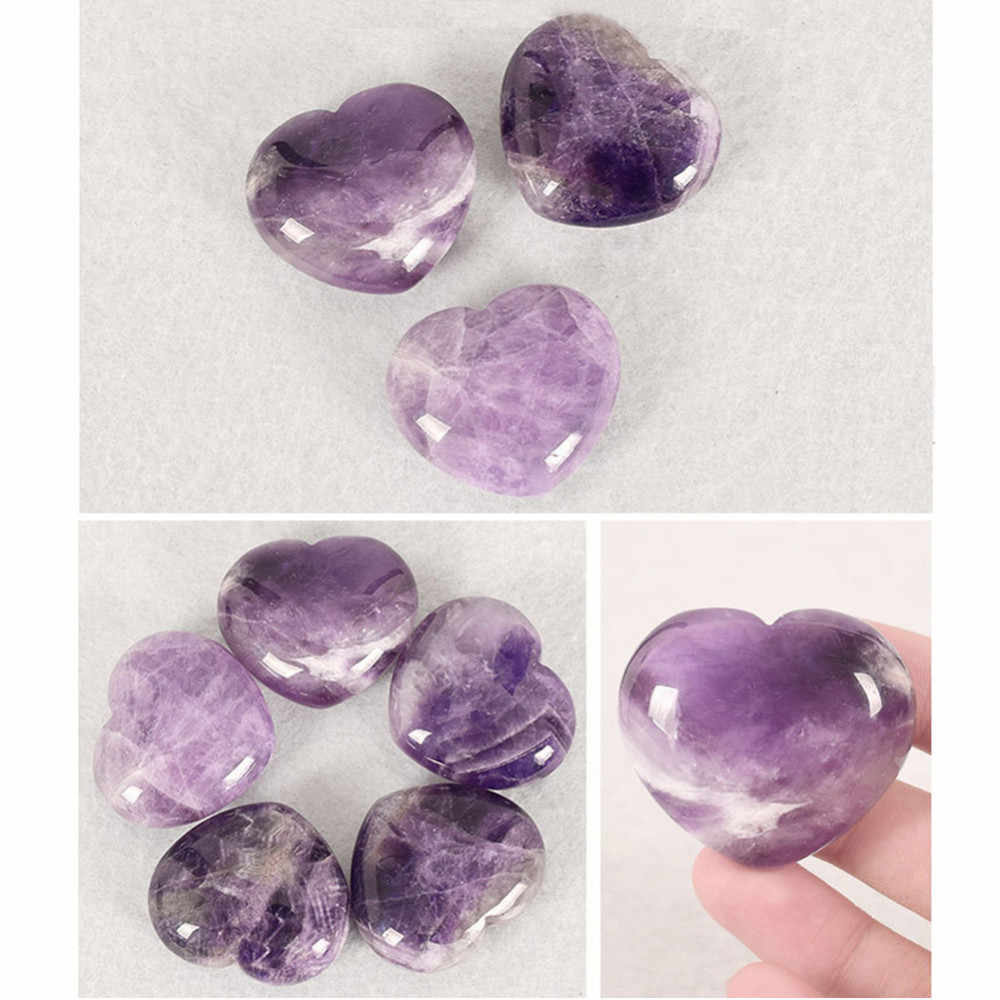 1pcs Purple Love Heart Natural Fluorite Quartz Crystal Stone Jade Energy Treatment Stone Ornament Point Healing Hexagonal Wand
