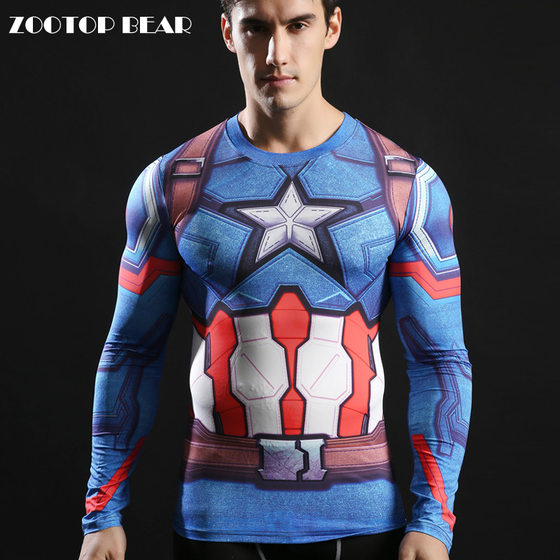 Fitness Tees 3d American Captain Tshirts 2017 Compression Long Sleeve T-shirts Novelty Tops Superhero Streetwear ZOOTOP BEAR