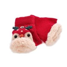 Зимние Детские перчатки с наполовину пальцами для мальчиков и девочек, новые зимние Бархатные флипсы с рисунком оленя