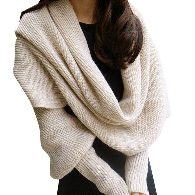 Wanita Syal Penutup Leher Knitting Mode Wraps Musim Dingin Lengan