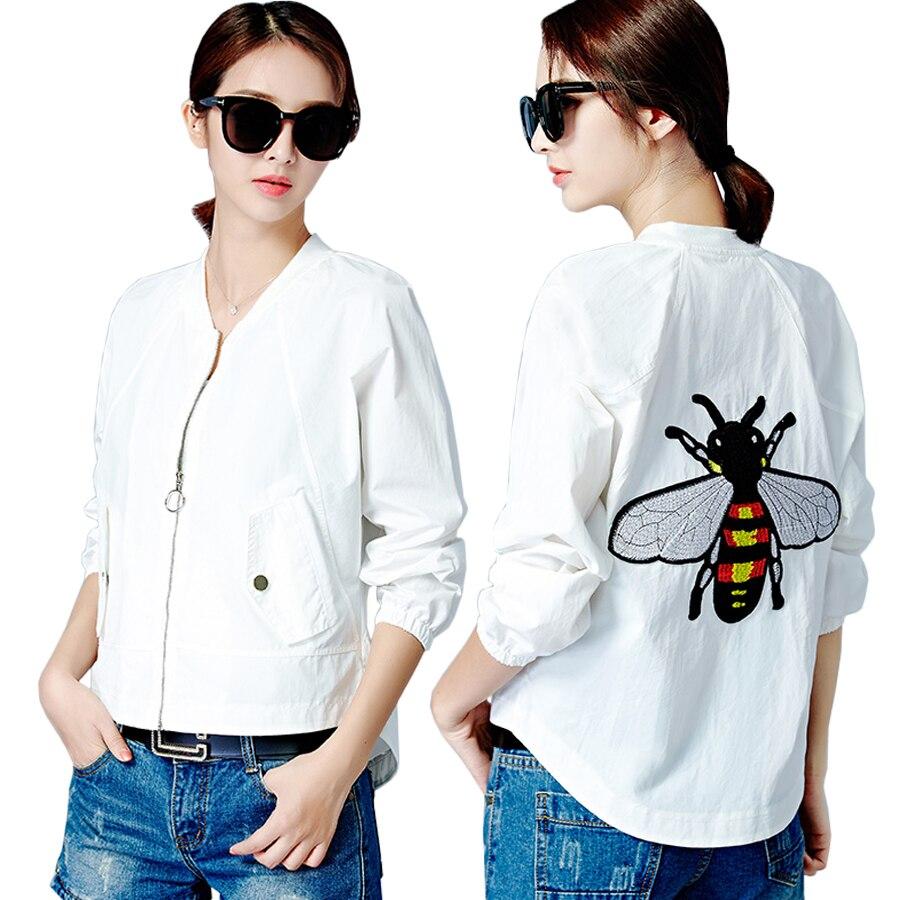 2018 women   basic     jacket   front short back long bomber   jacket   embroidered baseball outerwear casual female coats plus size jaqueta