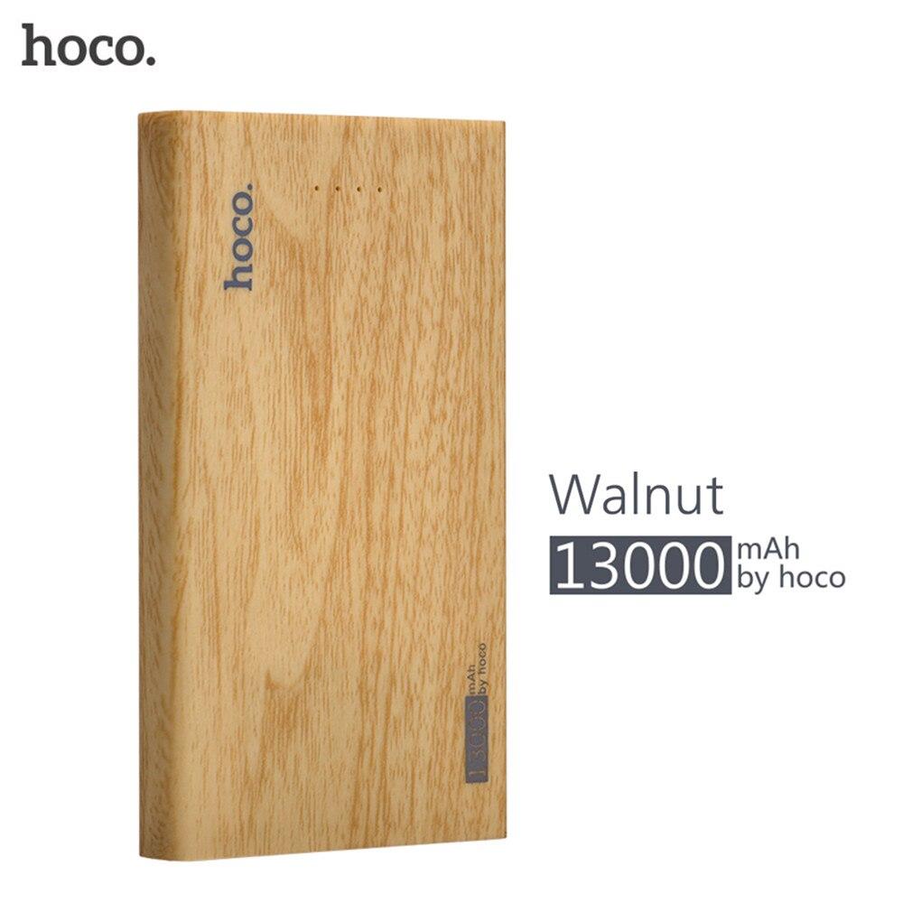 bilder für 13000 mAh HOCO Holz Stromversorgungsanlagebank Handy Akku Power Schnelle Ladegerät für Handys mit Großer Kapazität