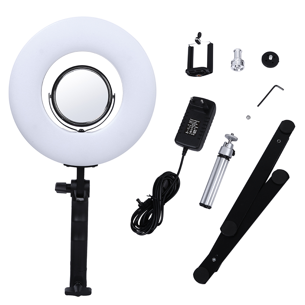 8 inch 24W 5500K Table Top Dimmable LED Ring Light with Desktop Bracket Photo Makeup Ring