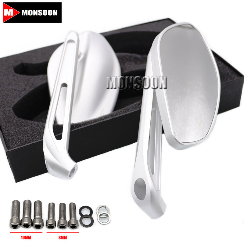 Motorcycle Accessories Rearview Side Mirrors For SUZUKI GSR400 GSR600 GSR750 GSX-S 750 GSX-S 1000 GSX-S1000F SV650 SV1000 Silver rearview mirrors common for yamaha mt09 07 zx6r zx7r zx10r zx14r ninja650r er6n cnc mirror motorcycle scooter accessories