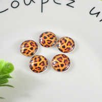 12mm 20pcs Round Glass Cabochons Art Cameo Ste Handmade embedded Bright leopard print