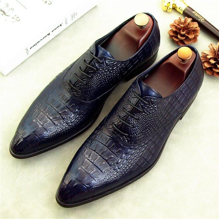 2018 en cuir véritable hommes oxford chaussures simples oxfords piste noir bleu rouge crocodile partie discothèque performance richelieus