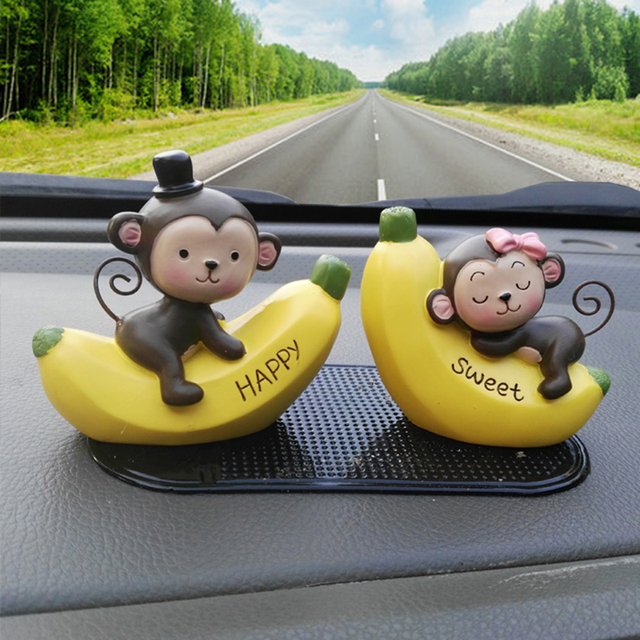 Small dolls creative car decoration love banana monkey car ...