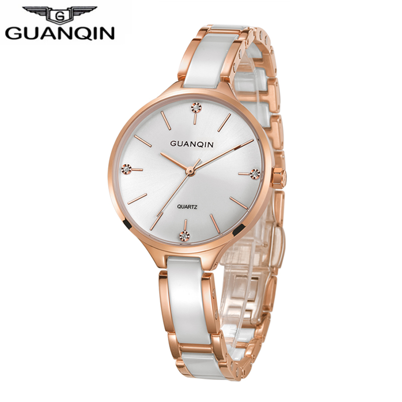 Relogio feminino GUANQIN 2018 Femmes montre En Céramique robe dames montre étanche zegarek damski mode Or Quartz Montre-Bracelet