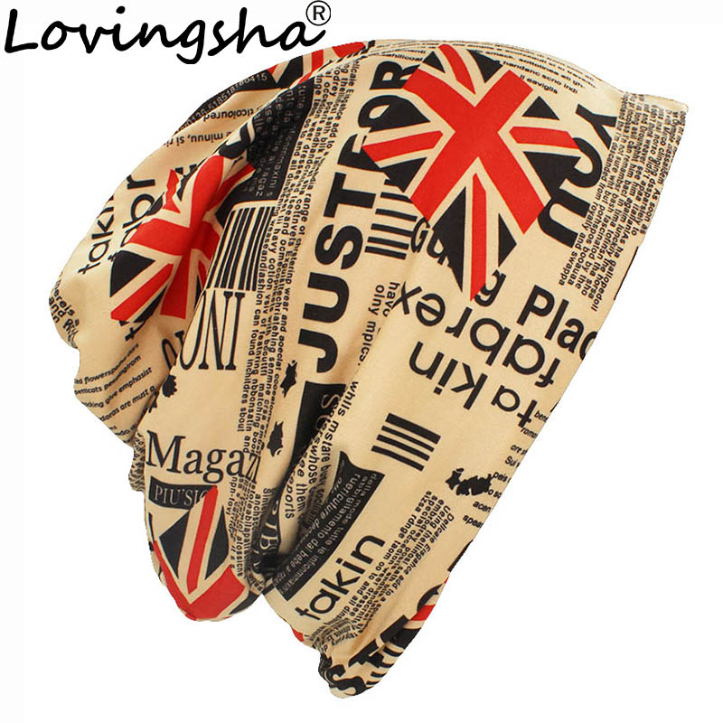LOVINGSHA New Fashion Unisex Caps Skullies Beanies M word flag  Hat Men Women Letter Print Hip-hop Knitted Hat Headwear 4 colors
