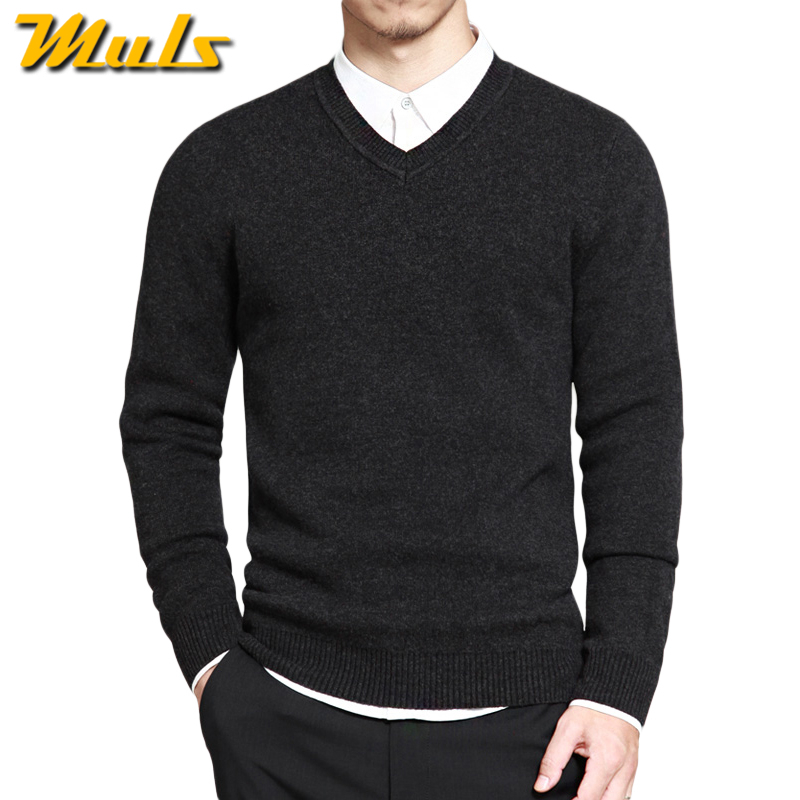 muls mens pullover sweaters simple style cotton knitted v neck long sleeve sweater jumpers m 4xl. Black Bedroom Furniture Sets. Home Design Ideas