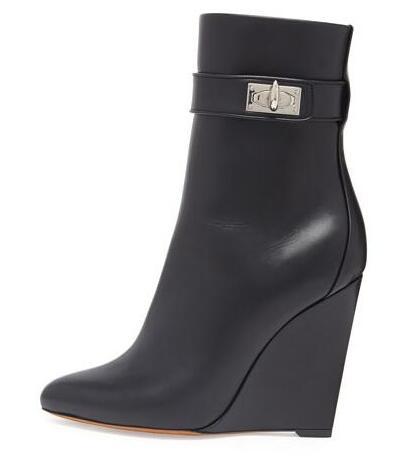 2017 mode femmes chaussures talons hauts solides compensées bout pointu femmes bottes noir bottines chaudes Botas Mujer pompes Sapatos Femininas