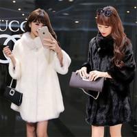 Lengthen large size winter new fur long section mink fur coat tidy female noble noble fashion collar leather jacket