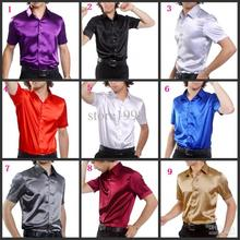 Top Quality Men Short Sleeve Wedding Groom Silk Shirts 9 Colors Bridegroom Shirt(Slim and Loose)A7