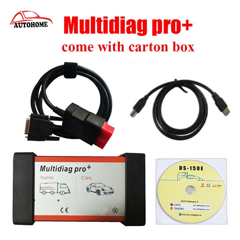 MultiDiag Pro + CDP PRO PLUS TCS scanner 2014.2 with and without Bluetooth Diagnostic Tool with carton box by free dhl ship