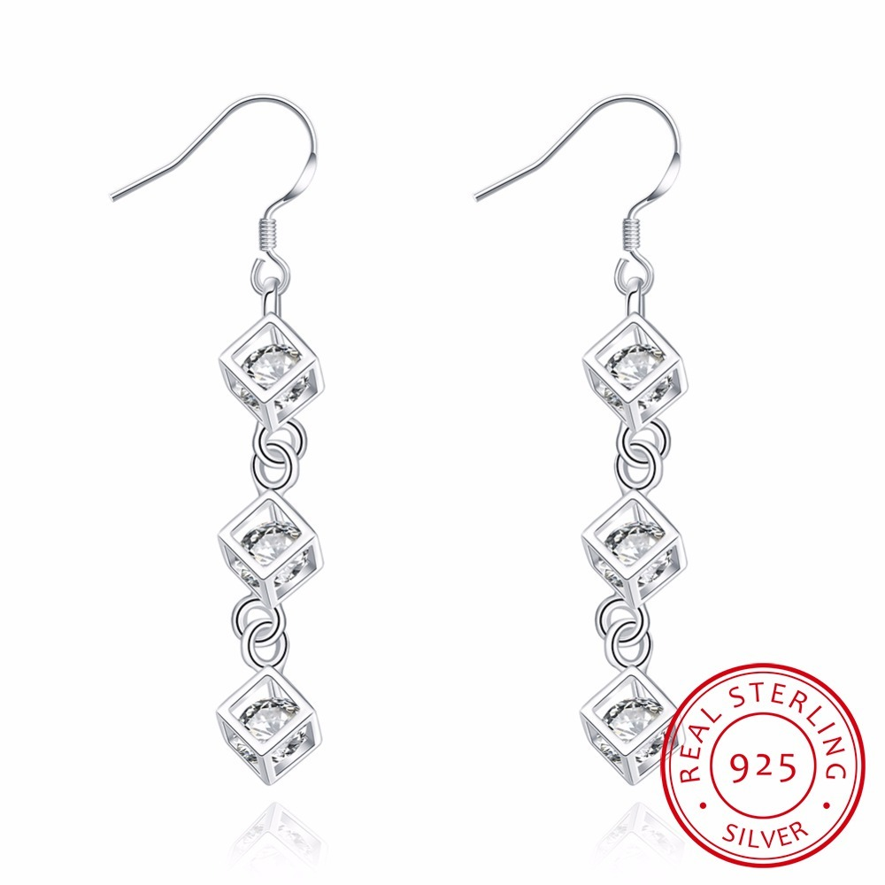 925 Sterling Silver Crystal Threader Earrings