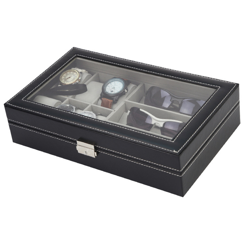 Image 4 - 6 Grid Leather Watch Storage Organizer With Sunglasses Storage  Box Glasses Jewelry Display Container Windowed Box For Man GiftsStorage  Boxes