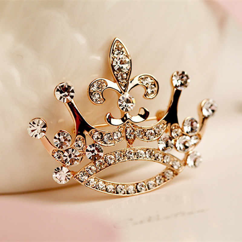 Hot Fashion Charm Crystal Crown Brooch Retro Big Royal Brooch Rhinestones Brooch Woman Jewelry Wedding Corsage Handmade