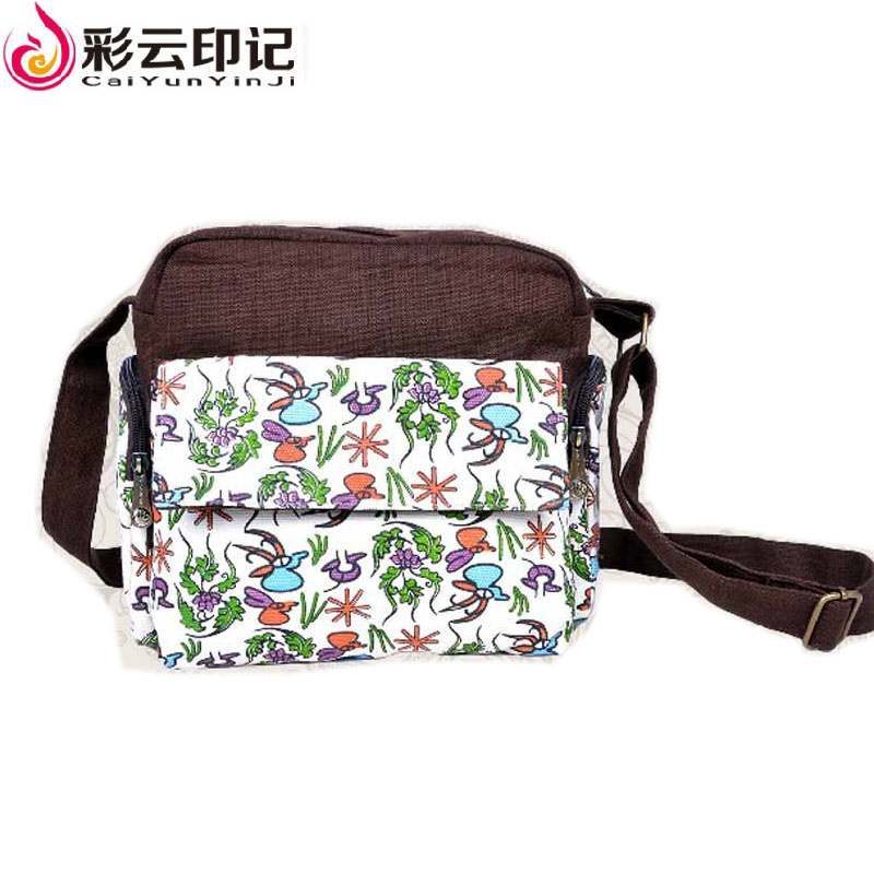 Caiyunyinji Brand Linen Printing Shoulder Bags for Girls Messenger Bag Famous Brand Candy Color Bag